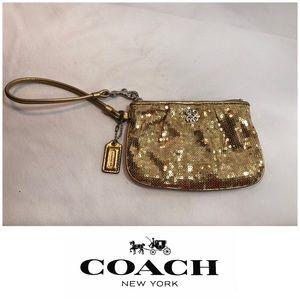 Auth Coach Gold Sequin Wristlet